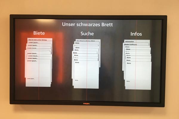 Digitales schwarzes Brett Filiale Neckarhausen
